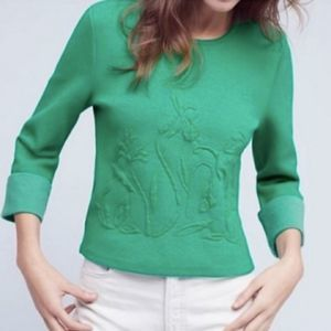 Anthropologie Moth Green Floral Embossed Sweater